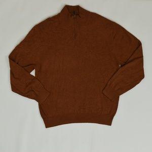 Jos. A Bank Regular L Orange   1/4 Zip Sweater Pim